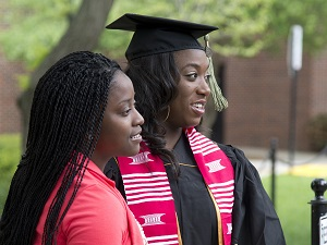 Two students at graduation