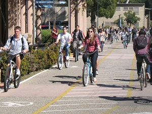 Students bicycling across campus